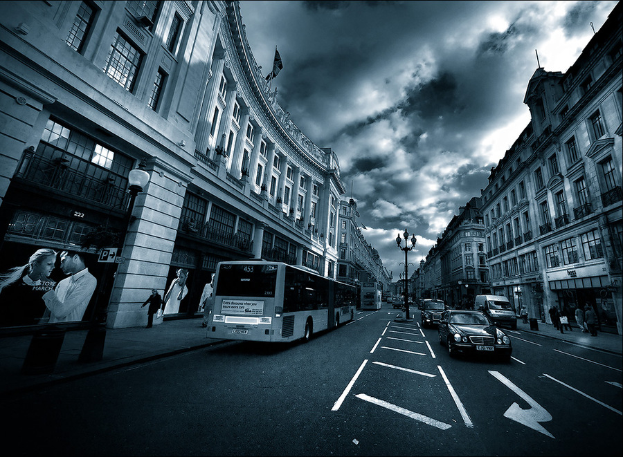 direction | London, duotone, traffic, street