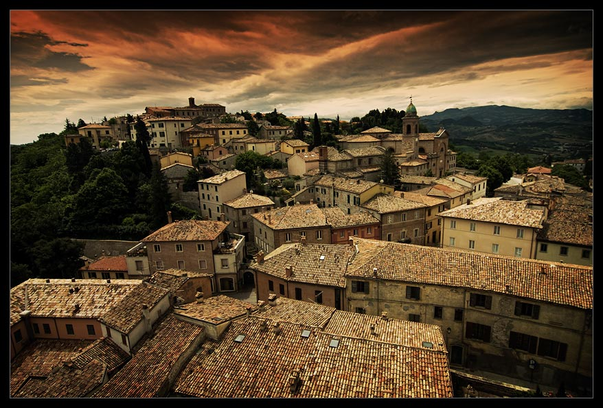 Gathering clouds | roof, Sicily, Italy, panorama, medieval