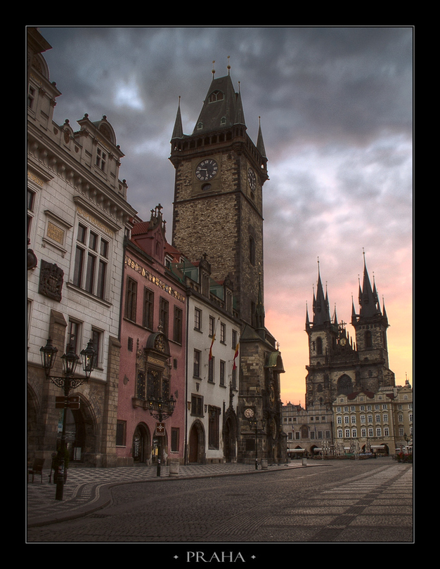 Dawn at Stare Miasto square | cathedral, sky, architecture, morning, pavestone, rendering, Prague, medieval