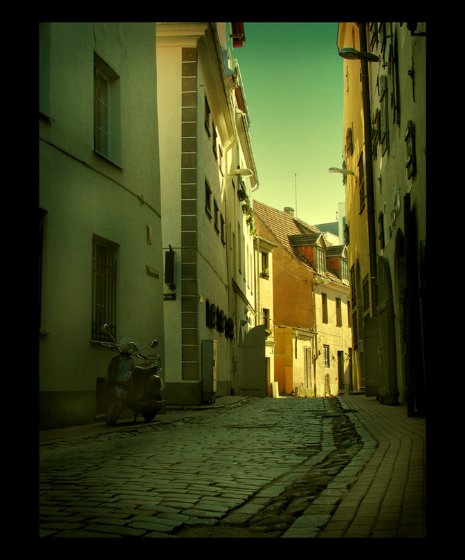 Along the street | hdr, Prague, houses, pavestone