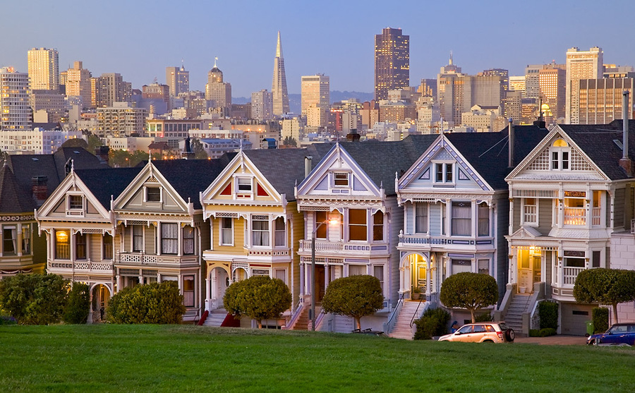 Painted Ladies | houses, street, morning, San Francisco