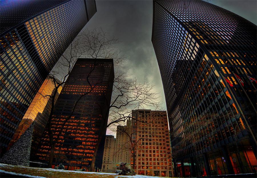 Evening Toronto | evening, lights, skyscraper, megalopolis, Canada, Toronto