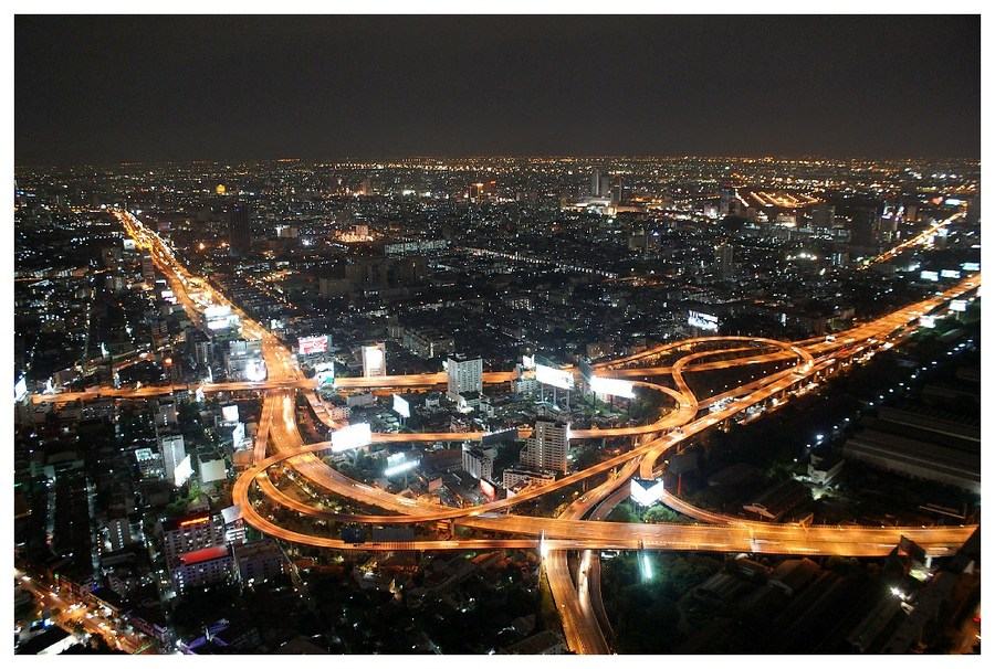 road junction | view from the top, Bangkok, car, night, lights, panorama, street