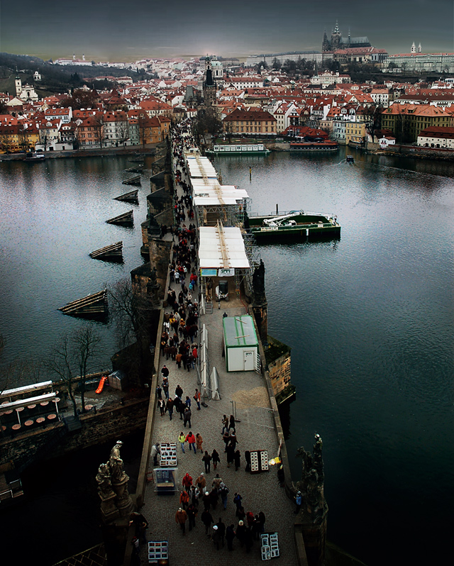 Charles bridge | view from the top, Prague, medieval, panorama, bridge