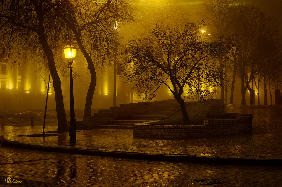 Golden Autumn | pavestone, evening, Kiev, fog