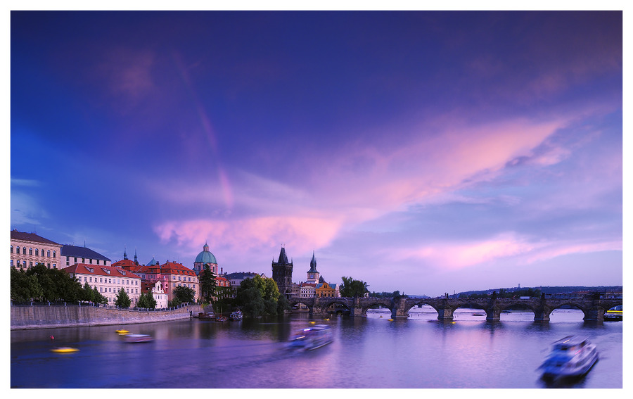 Movement | sunset, bridge, Prague, river