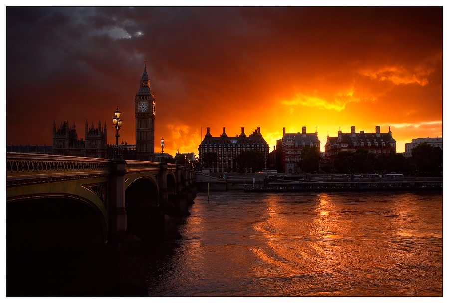 Sunset | evening, London, bridge, river