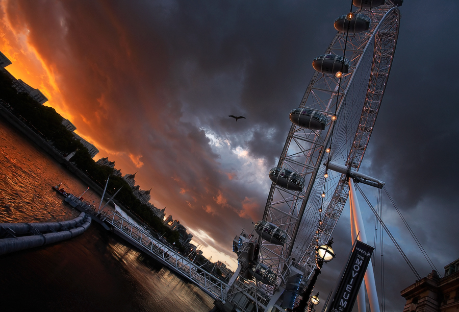 London Eye | evening, London, river, hdr
