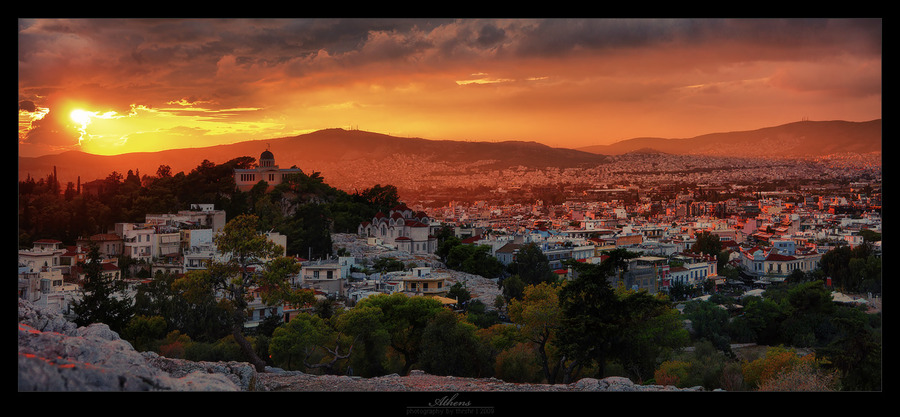Athens in the sunset fire