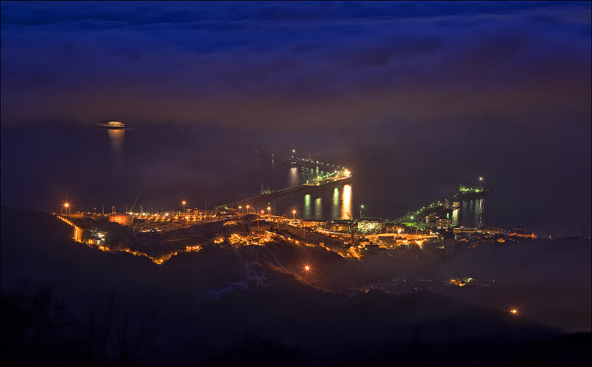 And the city's foggy | view from the top, sea, night, lights, Russia, fog, Novorossiysk