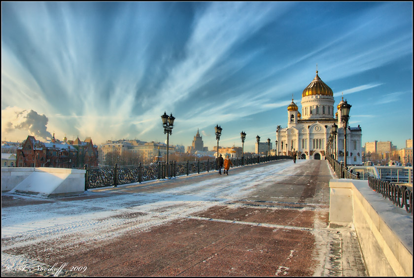 Temple | winter, Moscow, bridge, cathedral