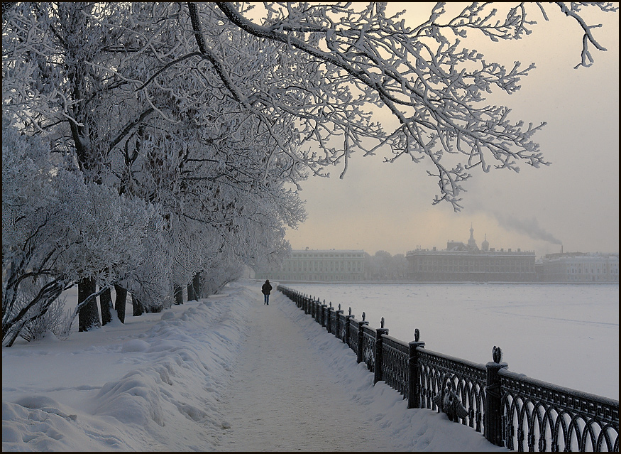 City in the snow | winter, wharf, St. Petersburg, snow