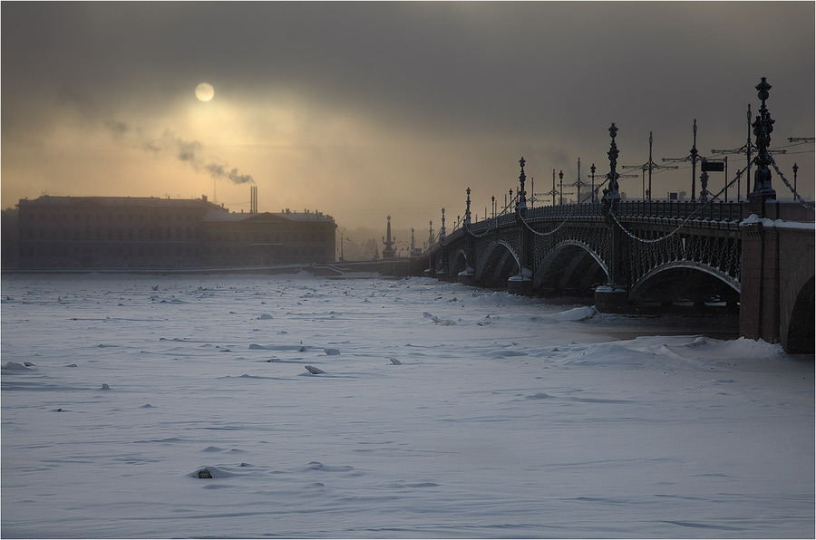 I'm back in my hometown | winter, bridge, river, St. Petersburg, fog