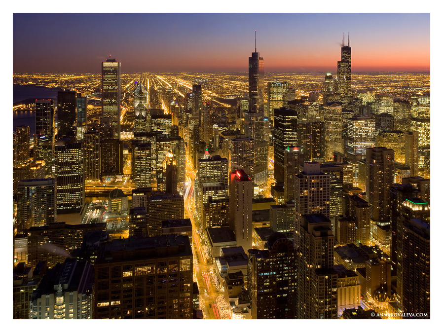 Chicago. From above | megalopolis, skyscraper, night, lights, panorama, Chicago, USA