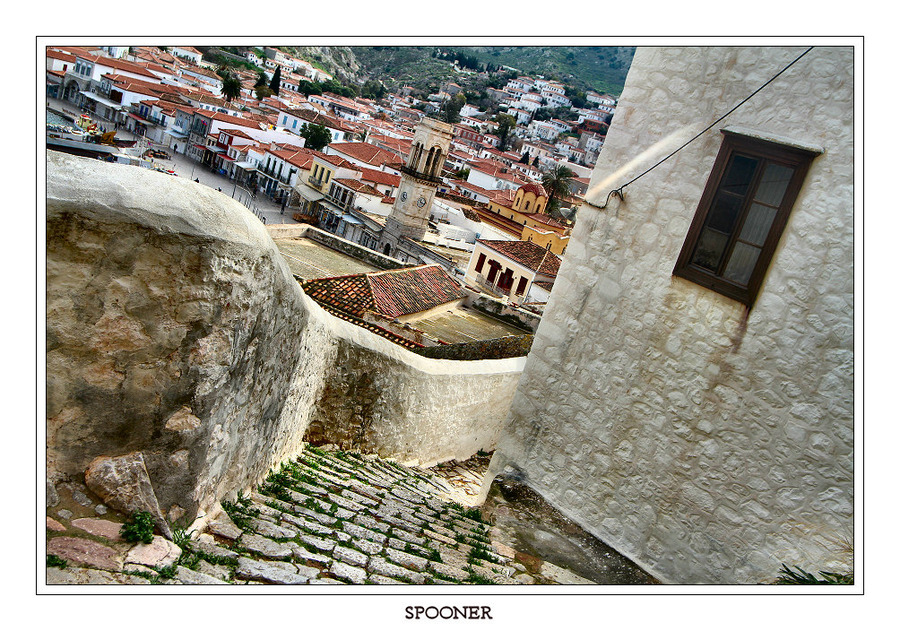 Citywarp (Ydra) | pavestone, view from the top, street, Greece