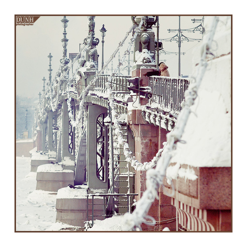 Frosty Petersburg | winter, people, bridge, St. Petersburg
