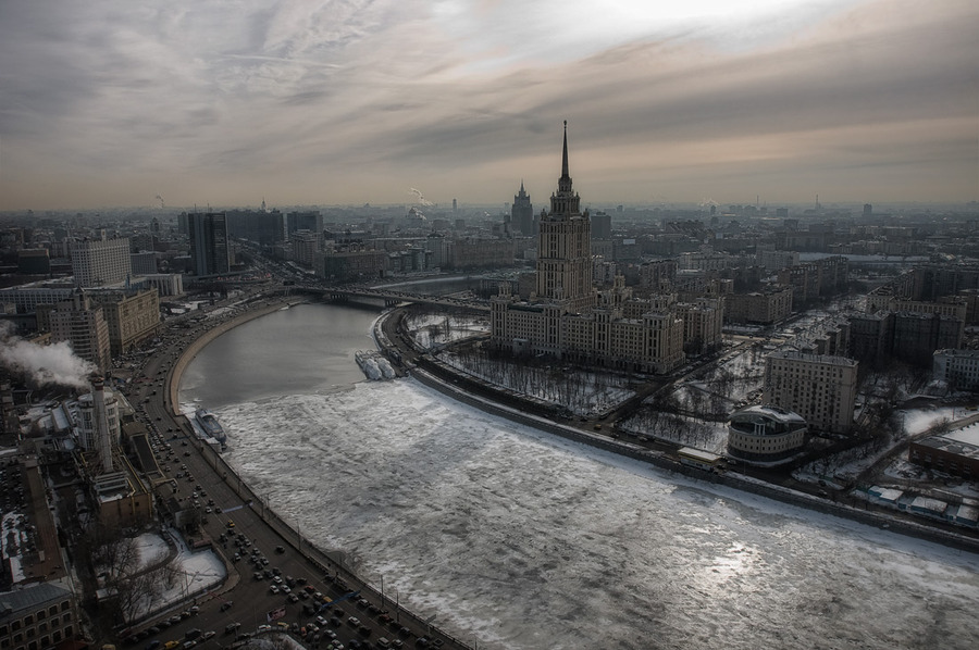 Flying over Moscow