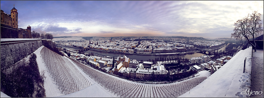 View on Wurzburg | view from the top, Germany, winter, panorama, Wurzburg