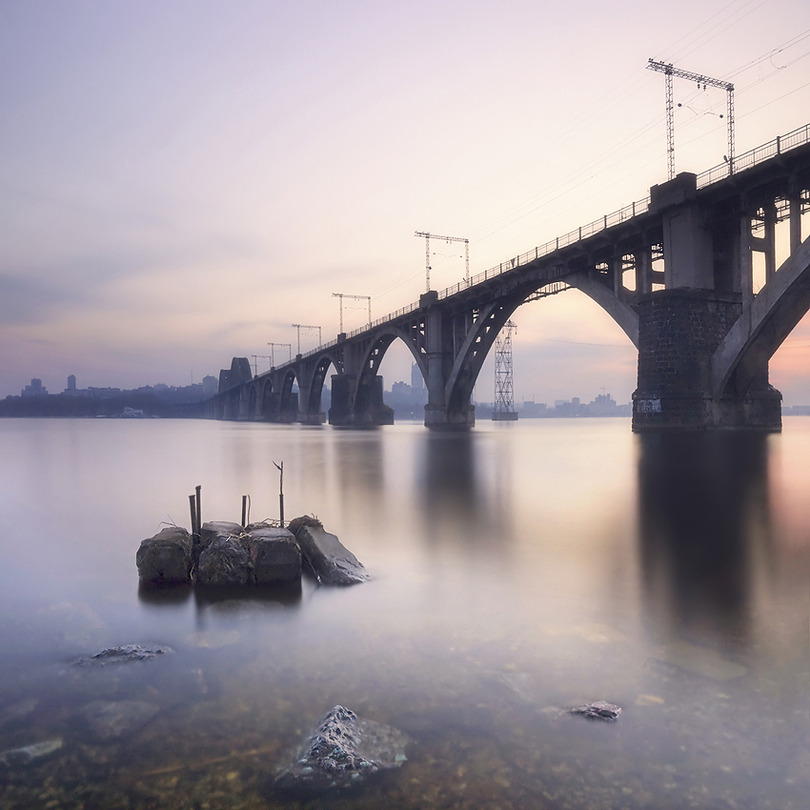 Evening Dnepr | bridge, river, fog, Ukraine