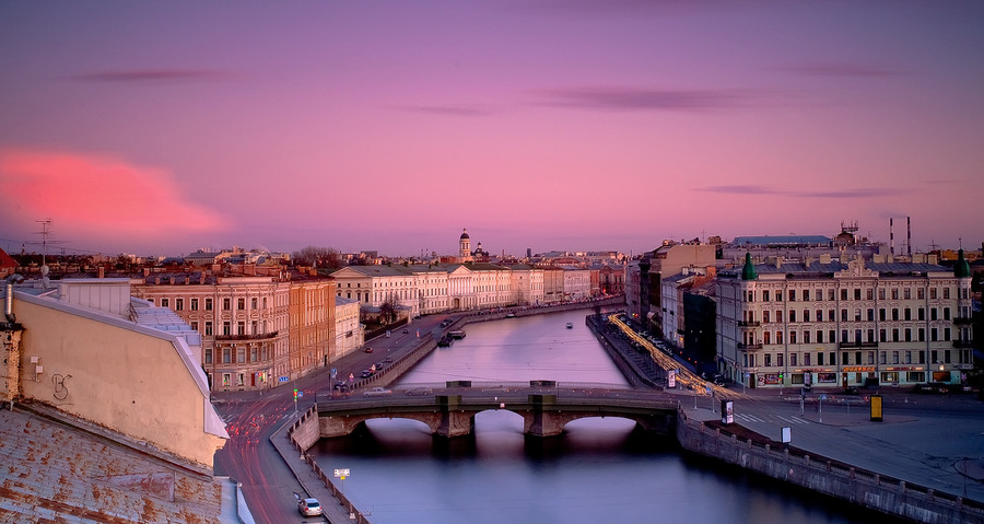 Fontanka | evening, view from the top, bridge, panorama, river, St. Petersburg