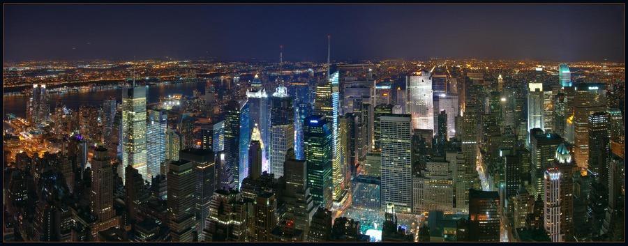 Flying above New York