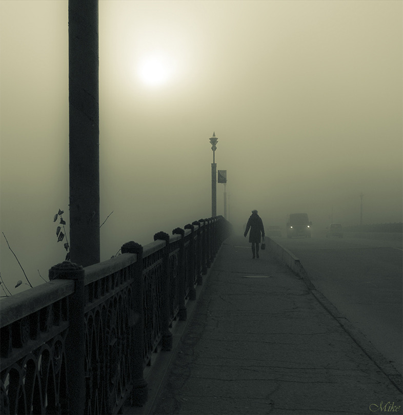 Bridge, morning, fog... | duotone, bridge, Russia, fog