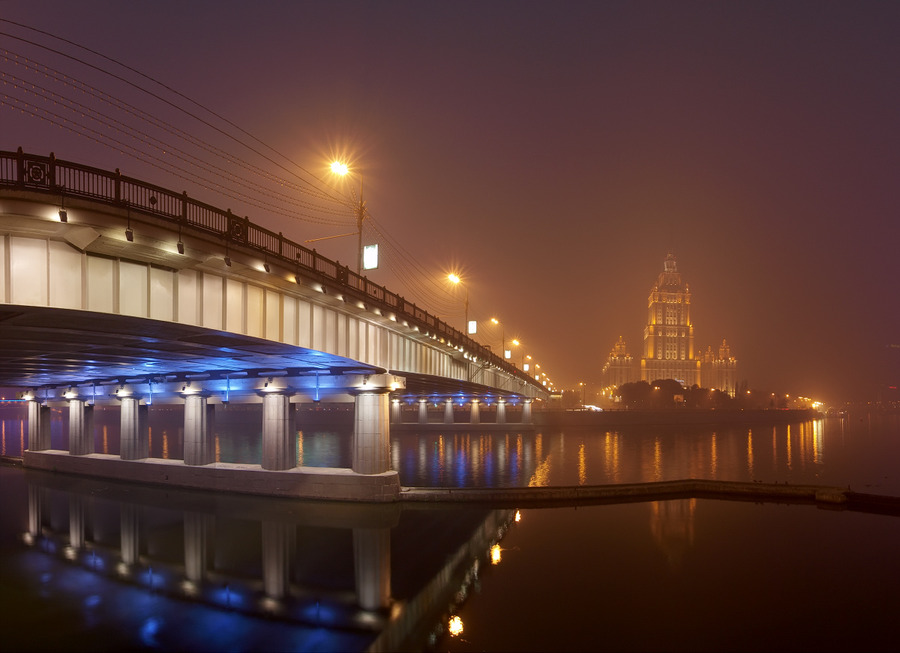 Carbon Monoxide Moscow | Moscow, bridge, night, lights, fog