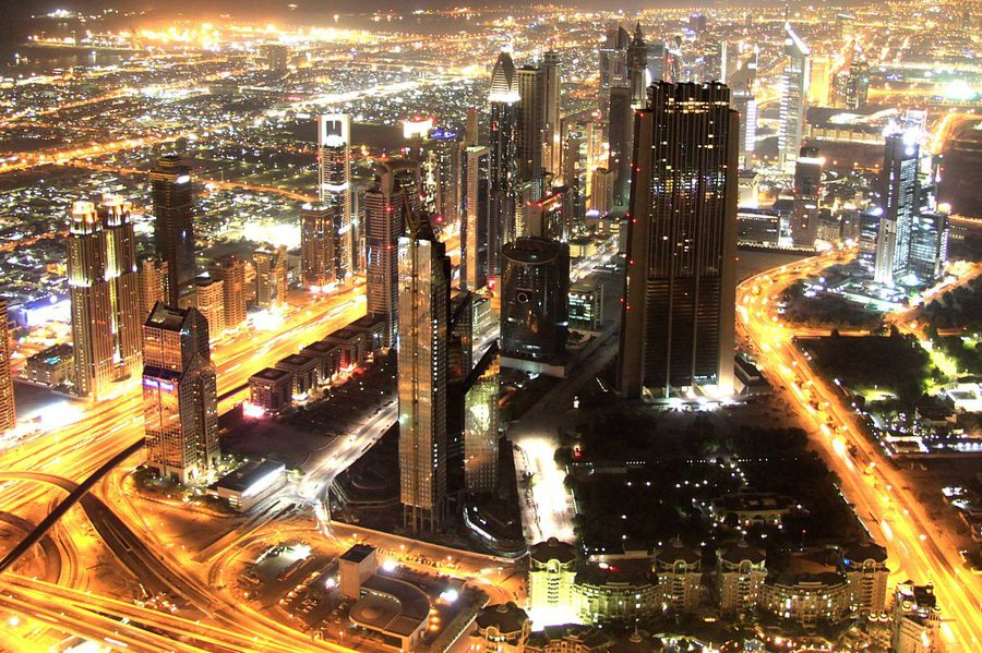 Dubai | megalopolis, skyscraper, night, lights, panorama, Dubai