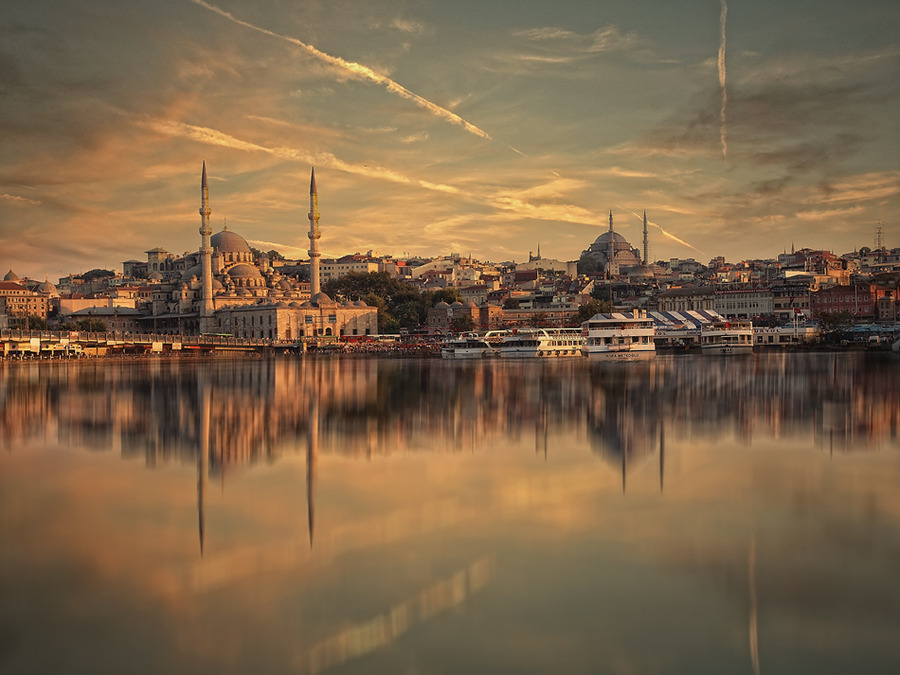 Sunset over Golden Horn | sunset, sea, reflection, panorama, Istanbul, Turkey