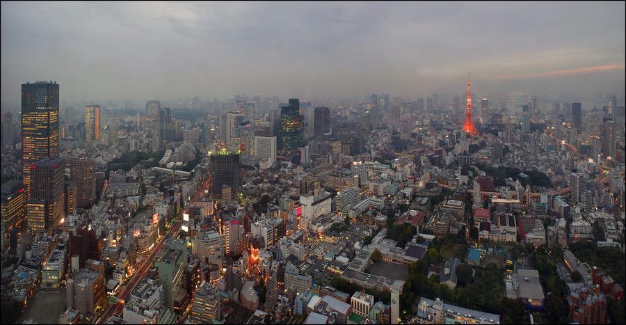 Tokyo in rain