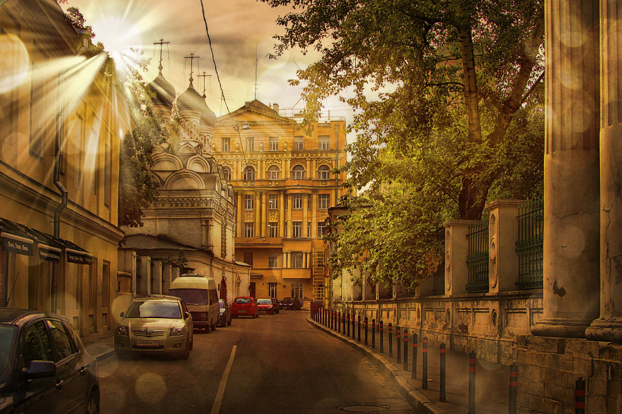 The Golden City  | architecture, Moscow, sun, street, auto
