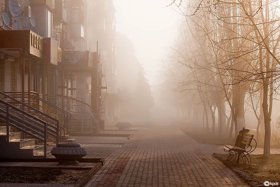 The city is waking up | Russia, fog, street, morning