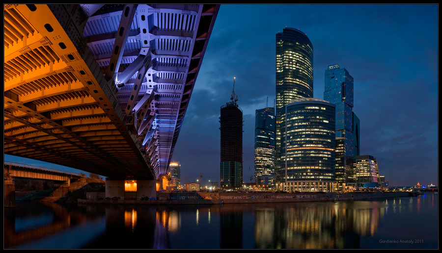 Across the river | Moscow, bridge, night, lights