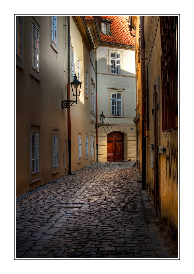 Narrow street | pavestone, houses, Prague, street