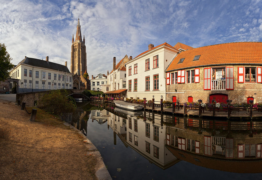 Brugge : morning mirror | Germany, houses, canal, reflection