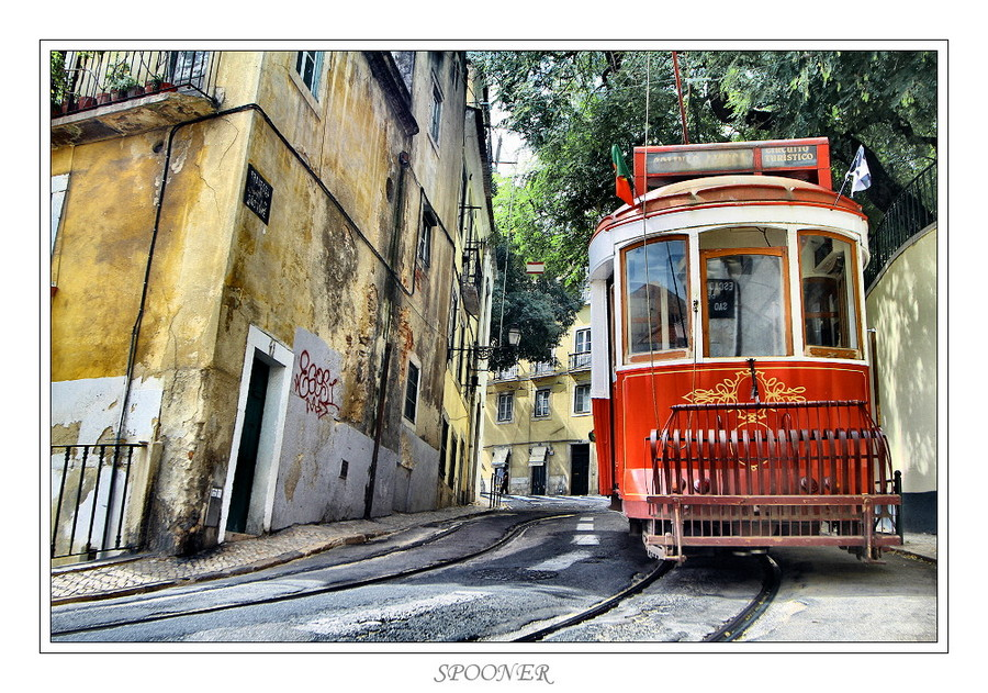 Red and white tramway