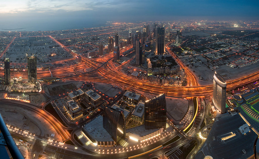Night streets of Dubai | city, Dubai, night, panorama, buildings, streets, lights, sky