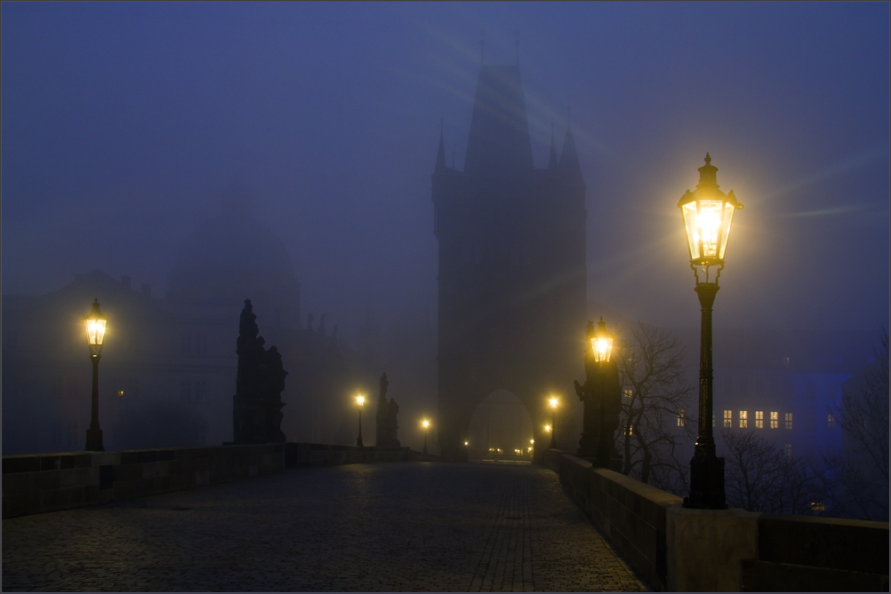 Foggy bridge over the river | river, fog, morning, water, street lamp, lights, castle