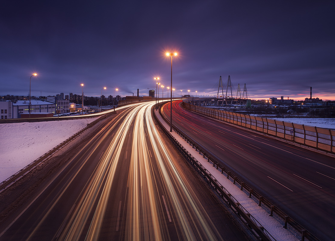 Long lights | lights, highway, street lamp, winter