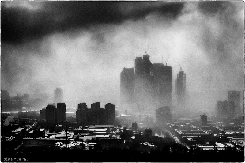 City in smoke