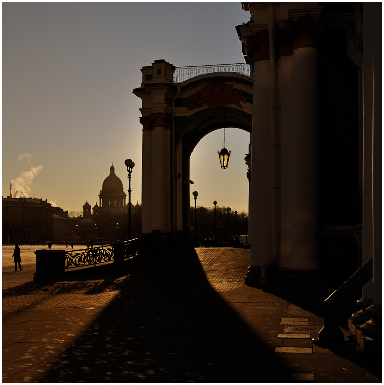 Arch and street-lamp