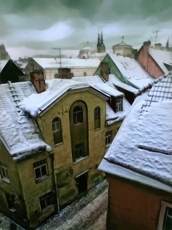 The roofs are in snow