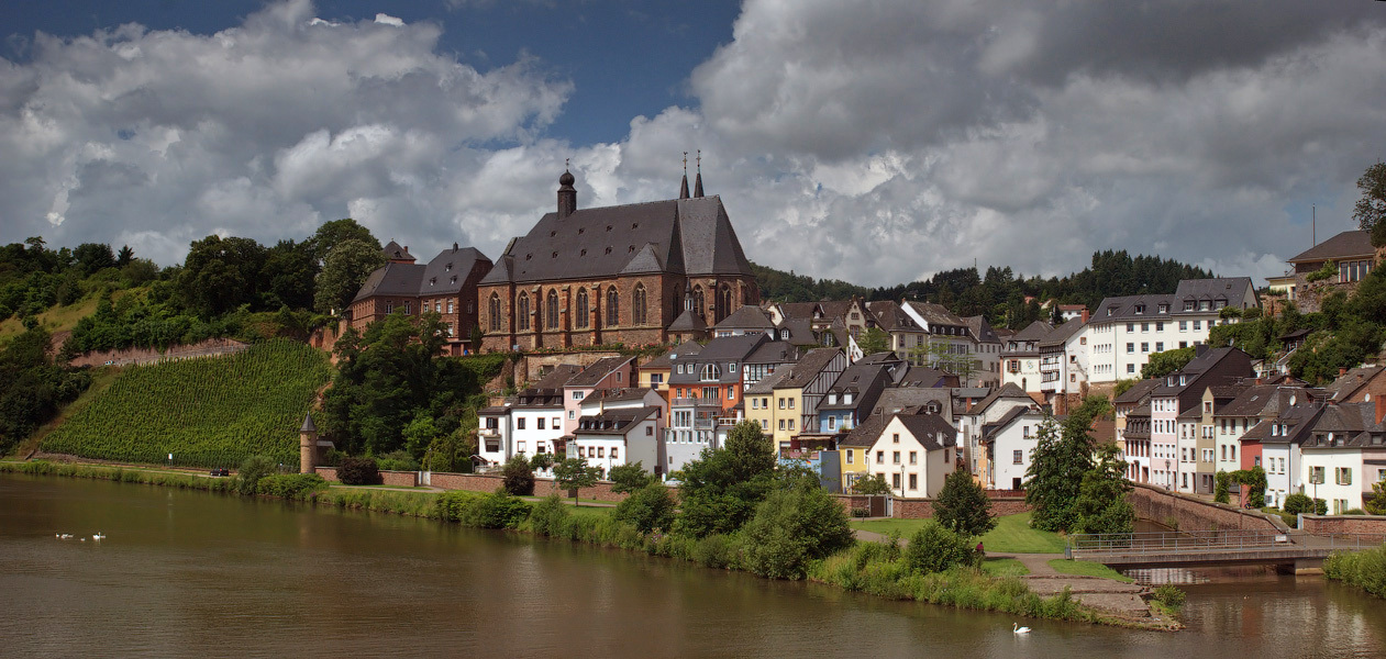 Saarburg,Germany | Saarburg, Germany, river, town, sky, clouds, houses, brown, swan, green