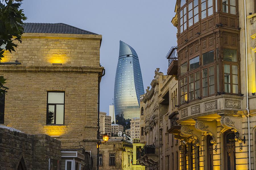 Two epochs | epoch, skyscraper, old buildings, dusk