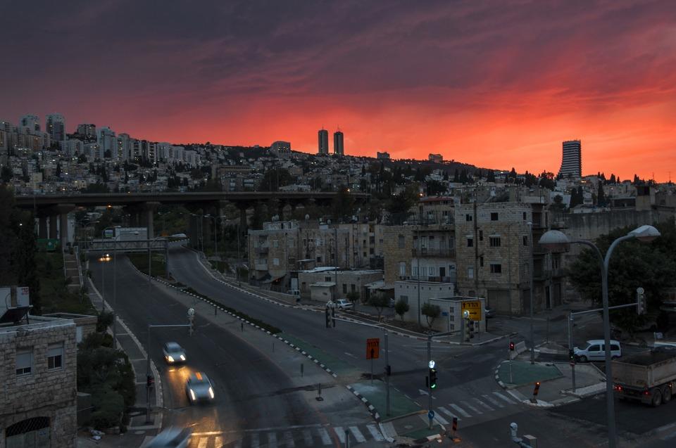 Fiery dusk above the city