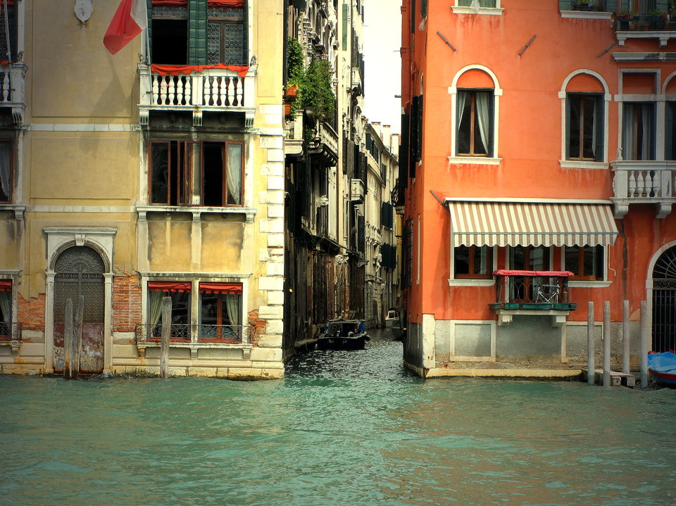 Two houses, Venice | city, Venice, Italy, channel, houses, water, windows, street, boat, balcony