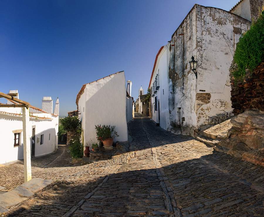 Monsaraz, Portugal | city, Monsaraz, Portugal, sunny day, street, panorama, sky, houses, flowers, cube