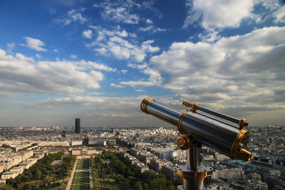 Viewing point of the Eiffel Tower, Paris  | city, Paris, France, Eiffel Tower, telescope, viewing point, height, clouds, buildings, trees