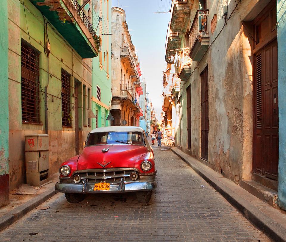 Street o Havana, Cuba | city, Havana, Cuba, car, street, old, houses, balcony, people, doors