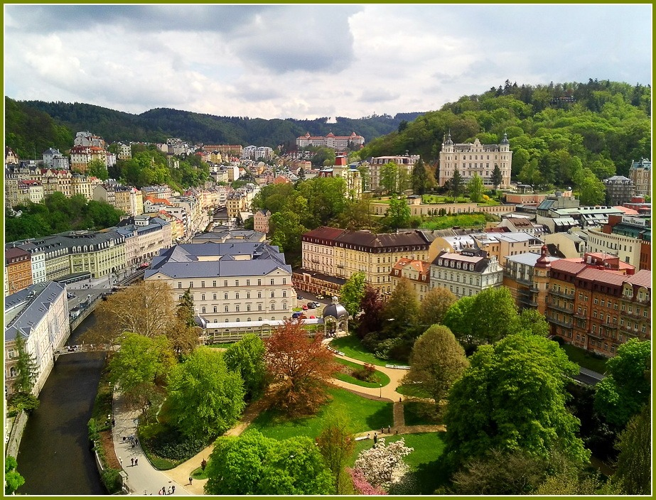 Karlovy Vary, Czechia | city, Czechia, Karlovy Vary, summer, trees, houses, green, chanel, sunny day, view from above